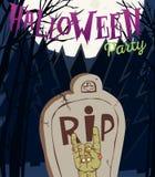 Иллюстрация вектора хеллоуина - мертвый человек s подготовляет от земли с приглашением к партии зомби Стоковая Фотография