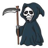 Иллюстрация вектора хеллоуина милого шаржа мрачного жнеца каркасная Стоковое Фото