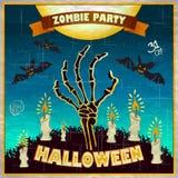 Иллюстрация вектора хеллоуина - оружия мертвого человека от земли с приглашением к зомби party Стоковое Изображение RF