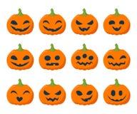 Иллюстрация вектора хеллоуина установленная тыквами Стоковое Изображение RF
