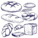 Иллюстрация вектора хлебопекарни установленной нарисованная рукой Стоковое Изображение RF