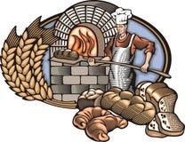 Иллюстрация вектора хлебопека в стиле Woodcut Стоковое Изображение RF