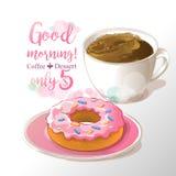 Иллюстрация вектора чашки кофе и донута бесплатная иллюстрация