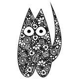 Иллюстрация вектора черно-белая орнаментальная декоративная кота Стоковые Фото