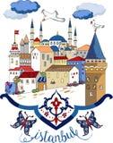 Иллюстрация вектора чертежа шаржа Стамбула Стоковая Фотография RF