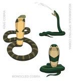 Иллюстрация вектора шаржа кобры змейки установленная Стоковая Фотография