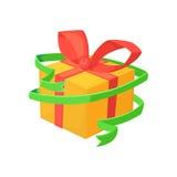 Иллюстрация вектора шаржа подарка на рождество Коробка праздника с красной лентой Подарок ` s Новый Год Стоковые Изображения RF