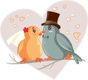 Иллюстрация вектора шаржа птиц влюбленности Стоковые Изображения