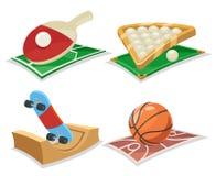 Иллюстрация вектора шаржа спорта установленная значками Стоковые Фотографии RF