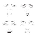 Иллюстрация вектора шаржа стороны эмоции девушки и характера символа значка emoji женщины выражение милого человеческое подписыва Стоковые Изображения