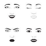Иллюстрация вектора шаржа стороны эмоции девушки и характера символа значка emoji женщины выражение милого человеческое подписыва Стоковое Фото
