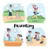 Иллюстрация вектора шаржа счастливой семьи сидя на поле Белый круг на голубой предпосылке Стоковая Фотография RF