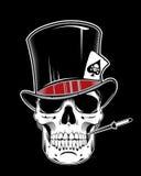 Иллюстрация вектора шаржа черепа нося джентльмена цилиндра шляпы Стоковые Изображения RF