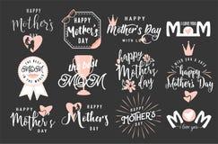 Иллюстрация вектора эмблемы логотипа установленной для приветствия дня матери иллюстрация штока