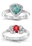 Иллюстрация вектора эскиза ювелирных изделий кольца с бриллиантом Стоковое Фото
