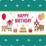 Иллюстрация вектора для дизайна дня рождения Собаки празднуют праздник Стоковое Фото