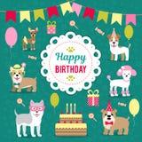 Иллюстрация вектора для дизайна дня рождения Собаки празднуют праздник Стоковые Фото