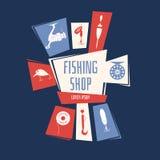 Иллюстрация вектора для магазина рыбной ловли Стоковая Фотография RF