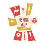 Иллюстрация вектора для магазина рыбной ловли Стоковые Фотографии RF