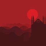 Иллюстрация вектора для мусульманской общины: пейзаж захода солнца пустыни красный с силуэтом мечети Стоковая Фотография RF