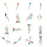 Иллюстрация вектора Computercolorful кабельной проводки штепсельной вилки установленная Стоковые Изображения