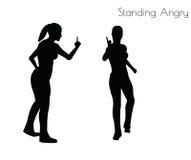 Иллюстрация вектора EPS 10 женщины в стоять сердитое представление на белую предпосылку иллюстрация штока