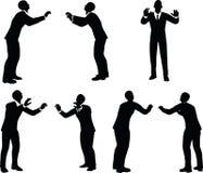 Иллюстрация вектора EPS 10 силуэта бизнесмена в представлении нажима Стоковая Фотография