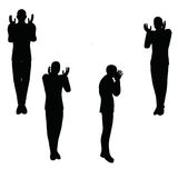 Иллюстрация вектора EPS 10 силуэта бизнесмена в сердитом представлении Стоковые Фото