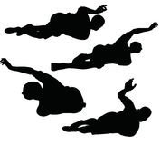 Иллюстрация вектора EPS 10 силуэта футболиста в черноте Стоковое фото RF