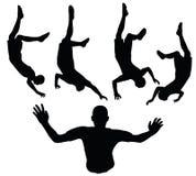 Иллюстрация вектора EPS 10 силуэта футболиста в черноте Стоковые Изображения
