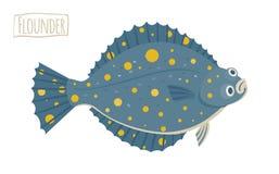 Иллюстрация вектора flounder, стиль шаржа Стоковые Изображения