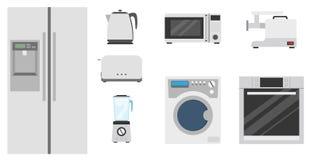 Иллюстрация вектора Kitchenware установленная плоская Стоковое Изображение RF