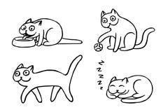 Иллюстрация вектора Pussycat установленная смайликами Стоковые Изображения