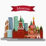 Иллюстрация вектора Sain Basil& x27; собор, Кремль и Mosco s Стоковое фото RF