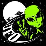 Иллюстрация вектора UFO чужеземца Стоковое Изображение