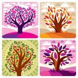 Иллюстрация векторной графики искусства стилизованного дерева и мирного pu Стоковое Изображение