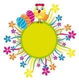 Карточка пасхи с цыпленоком и цветками иллюстрация вектора