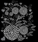 Белые цветки год сбора винограда на черной предпосылке иллюстрация вектора