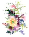 Иллюстрация венка акварели флористическая Стоковые Изображения RF