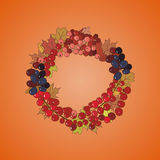 Иллюстрация венка с пуками ягод и листьев осени Стоковые Изображения RF