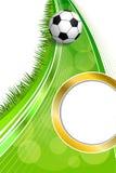 Иллюстрация вертикали круга золота рамки футбольного мяча футбола зеленой травы предпосылки абстрактная Стоковая Фотография RF