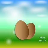Иллюстрация весны с пасхальными яйцами Стоковое Изображение