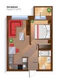 Иллюстрация взгляд сверху квартиры спальни вектора современная одна Стоковое Фото