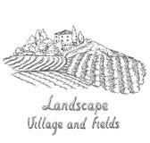 Иллюстрация виноградника Поле и деревня Стоковые Изображения