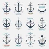 Иллюстрация винтажного ретро элемента океана моря знака вектора значка анкера графического морская военноморская стоковые изображения rf