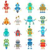 Иллюстрация винтажных милых роботов Стоковые Фото
