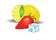 Иллюстрация вкуса лимона и клубники Стоковое Изображение RF