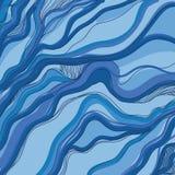 Иллюстрация волны моря орнамента watercolours бумаги руки притяжки Стоковые Изображения