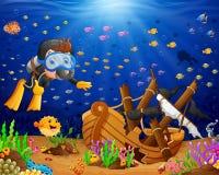 Иллюстрация водолаза под морем бесплатная иллюстрация