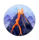 Иллюстрация вулкана акварели Стоковая Фотография